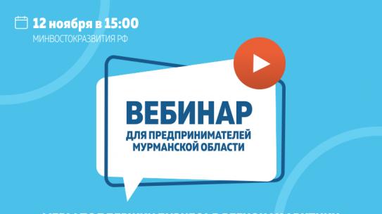Минвостокразвития РФ проведет вебинар для предпринимателей Мурманской области о новых мерах поддержки бизнеса в регионах Арктики